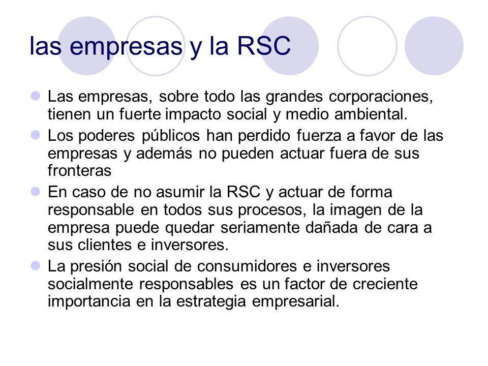 las empresas y la RSC Las empresas, sobre todo las grandes corporaciones, tienen un fuerte impacto social y medio ambiental. Los poderes públicos han