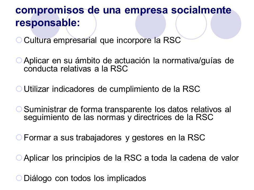 compromisos de una empresa socialmente responsable: Cultura empresarial que incorpore la RSC Aplicar en su ámbito de actuación la normativa/guías de c