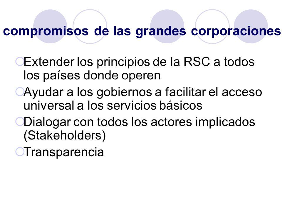 compromisos de las grandes corporaciones Extender los principios de la RSC a todos los países donde operen Ayudar a los gobiernos a facilitar el acces