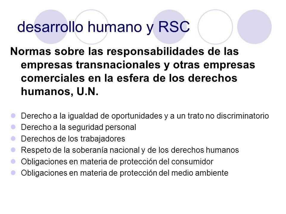 desarrollo humano y RSC Normas sobre las responsabilidades de las empresas transnacionales y otras empresas comerciales en la esfera de los derechos h