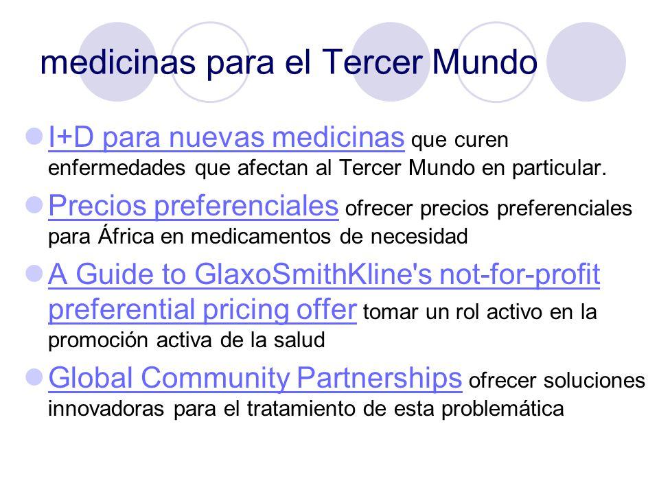 medicinas para el Tercer Mundo I+D para nuevas medicinas que curen enfermedades que afectan al Tercer Mundo en particular. I+D para nuevas medicinas P