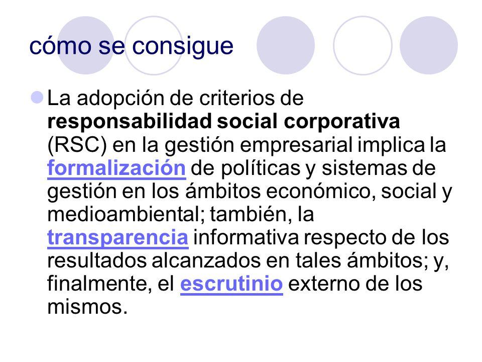 cómo se consigue La adopción de criterios de responsabilidad social corporativa (RSC) en la gestión empresarial implica la formalización de políticas