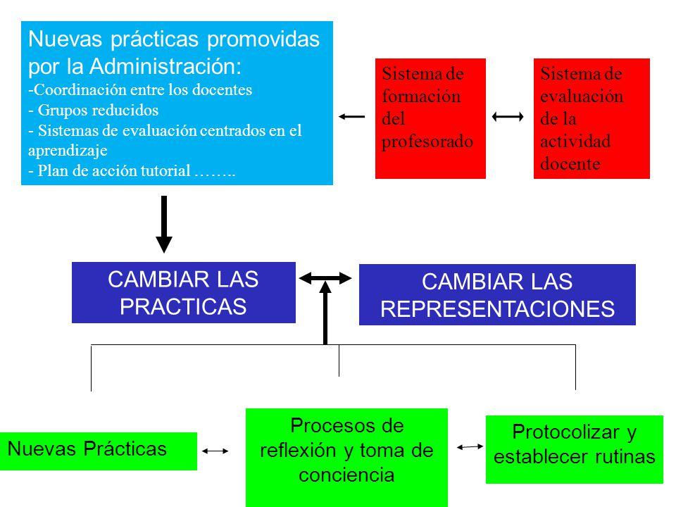 Nuevas prácticas promovidas por la Administración: -Coordinación entre los docentes - Grupos reducidos - Sistemas de evaluación centrados en el aprend