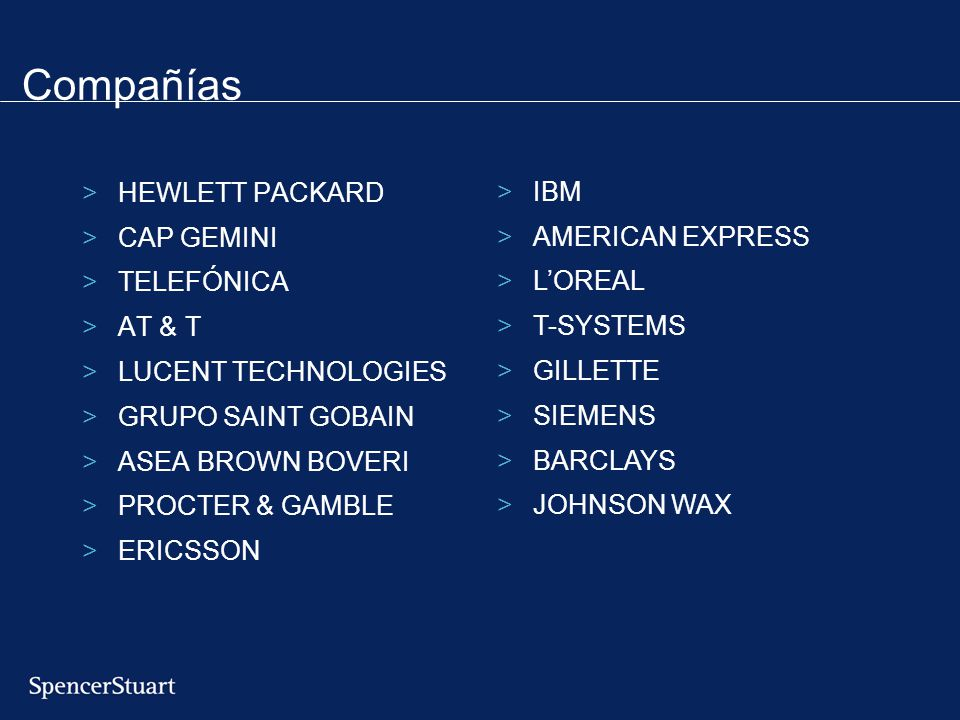 Compañías >HEWLETT PACKARD >CAP GEMINI >TELEFÓNICA >AT & T >LUCENT TECHNOLOGIES >GRUPO SAINT GOBAIN >ASEA BROWN BOVERI >PROCTER & GAMBLE >ERICSSON >IBM >AMERICAN EXPRESS >LOREAL >T-SYSTEMS >GILLETTE >SIEMENS >BARCLAYS >JOHNSON WAX