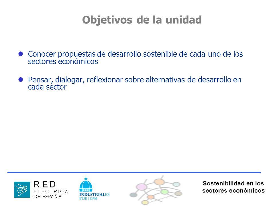 Sostenibilidad en los sectores económicos Objetivos de la unidad Conocer propuestas de desarrollo sostenible de cada uno de los sectores económicos Pensar, dialogar, reflexionar sobre alternativas de desarrollo en cada sector