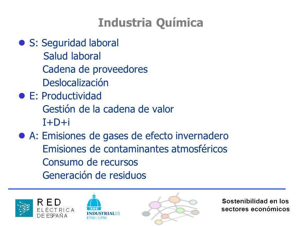 Sostenibilidad en los sectores económicos Industria Química S: Seguridad laboral Salud laboral Cadena de proveedores Deslocalización E: Productividad Gestión de la cadena de valor I+D+i A: Emisiones de gases de efecto invernadero Emisiones de contaminantes atmosféricos Consumo de recursos Generación de residuos