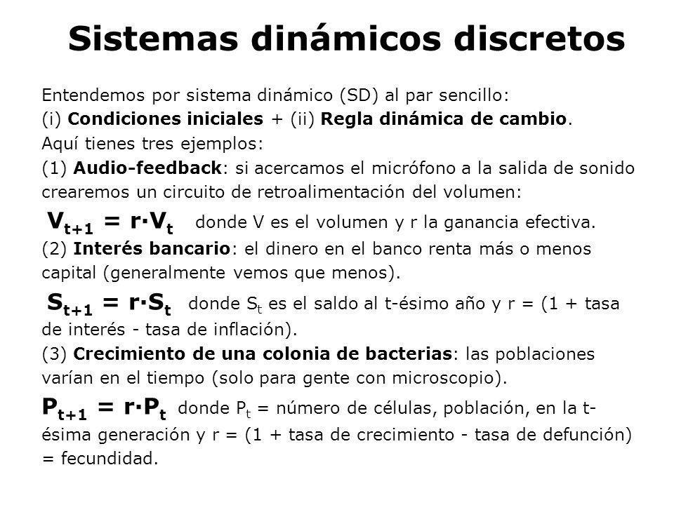 Sistemas dinámicos discretos Entendemos por sistema dinámico (SD) al par sencillo: (i) Condiciones iniciales + (ii) Regla dinámica de cambio. Aquí tie