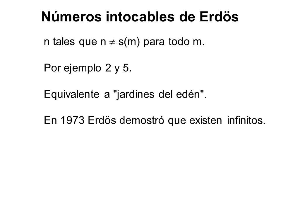 Números intocables de Erdös n tales que n s(m) para todo m. Por ejemplo 2 y 5. Equivalente a