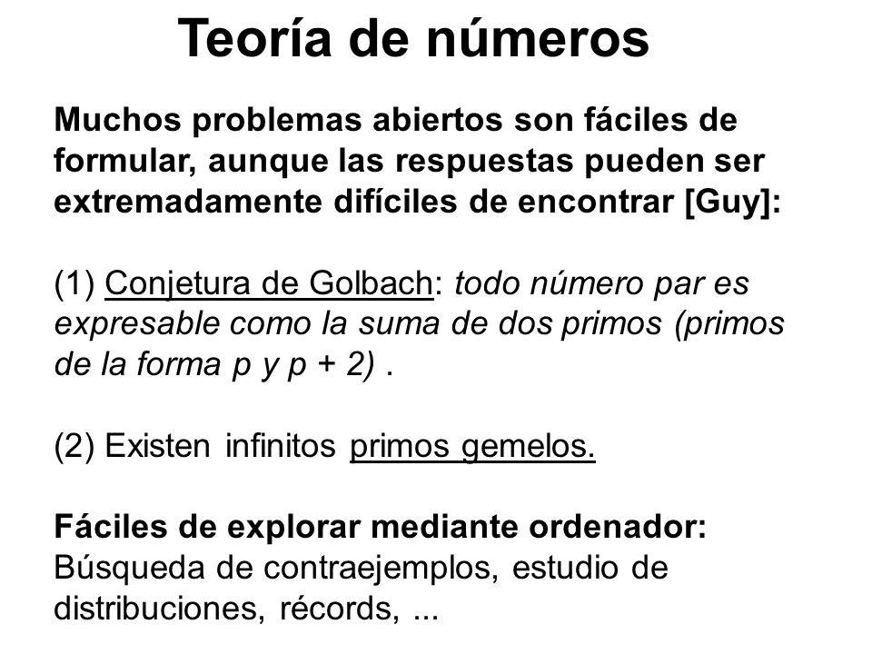 Teoría de números Muchos problemas abiertos son fáciles de formular, aunque las respuestas pueden ser extremadamente difíciles de encontrar [Guy]: (1)