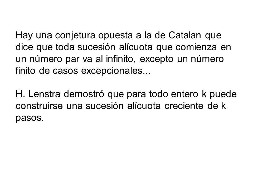 Hay una conjetura opuesta a la de Catalan que dice que toda sucesión alícuota que comienza en un número par va al infinito, excepto un número finito d