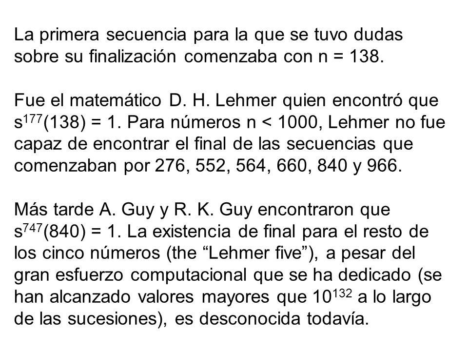 La primera secuencia para la que se tuvo dudas sobre su finalización comenzaba con n = 138. Fue el matemático D. H. Lehmer quien encontró que s 177 (1
