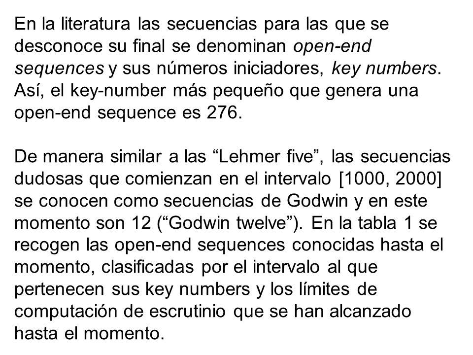 En la literatura las secuencias para las que se desconoce su final se denominan open-end sequences y sus números iniciadores, key numbers. Así, el key