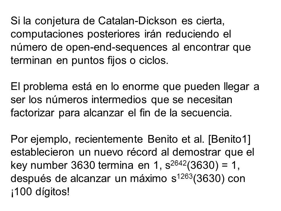Si la conjetura de Catalan-Dickson es cierta, computaciones posteriores irán reduciendo el número de open-end-sequences al encontrar que terminan en p