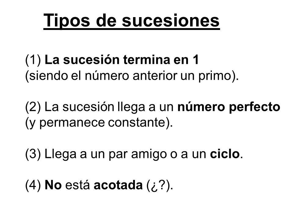 Tipos de sucesiones (1) La sucesión termina en 1 (siendo el número anterior un primo). (2) La sucesión llega a un número perfecto (y permanece constan