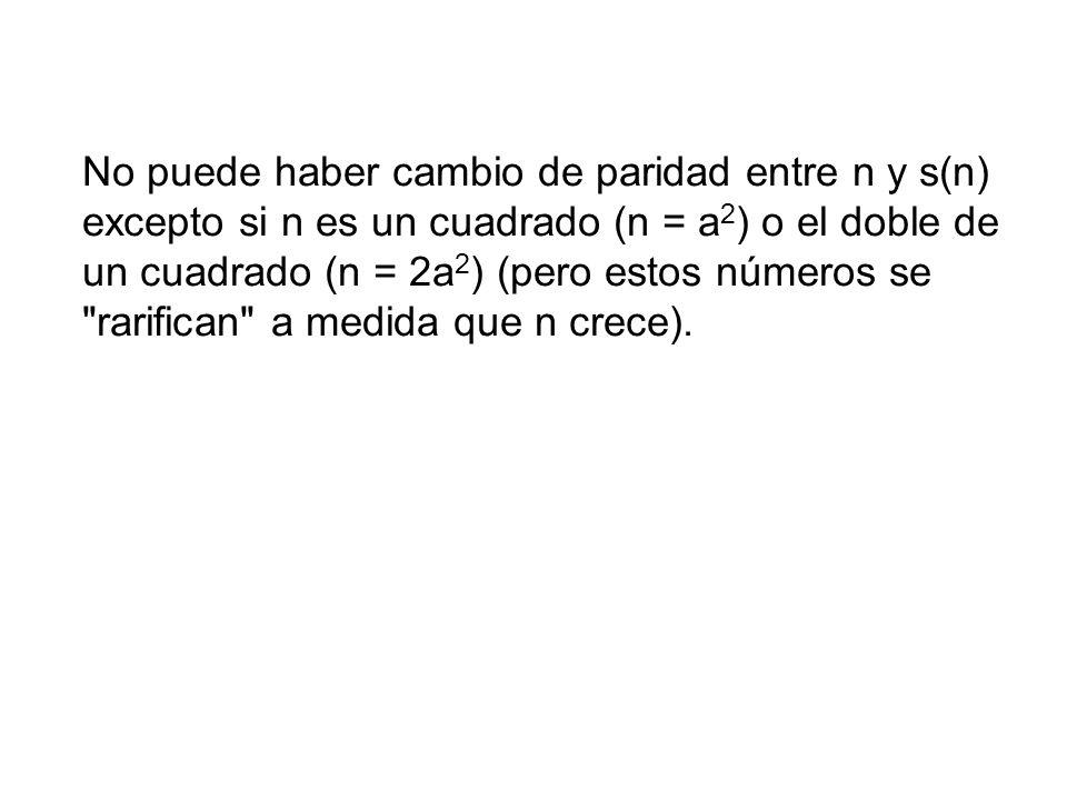 No puede haber cambio de paridad entre n y s(n) excepto si n es un cuadrado (n = a 2 ) o el doble de un cuadrado (n = 2a 2 ) (pero estos números se