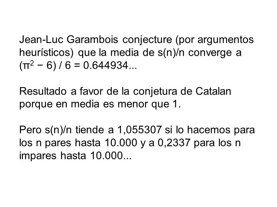 Jean-Luc Garambois conjecture (por argumentos heurísticos) que la media de s(n)/n converge a (π 2 6) / 6 = 0.644934... Resultado a favor de la conjetu