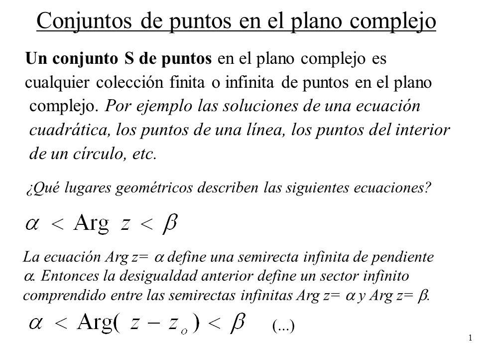 1 Conjuntos de puntos en el plano complejo Un conjunto S de puntos en el plano complejo es cualquier colección finita o infinita de puntos en el plano