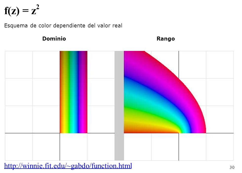 30 f(z) = z 2 Esquema de color dependiente del valor real DominioRango http://winnie.fit.edu/~gabdo/function.html