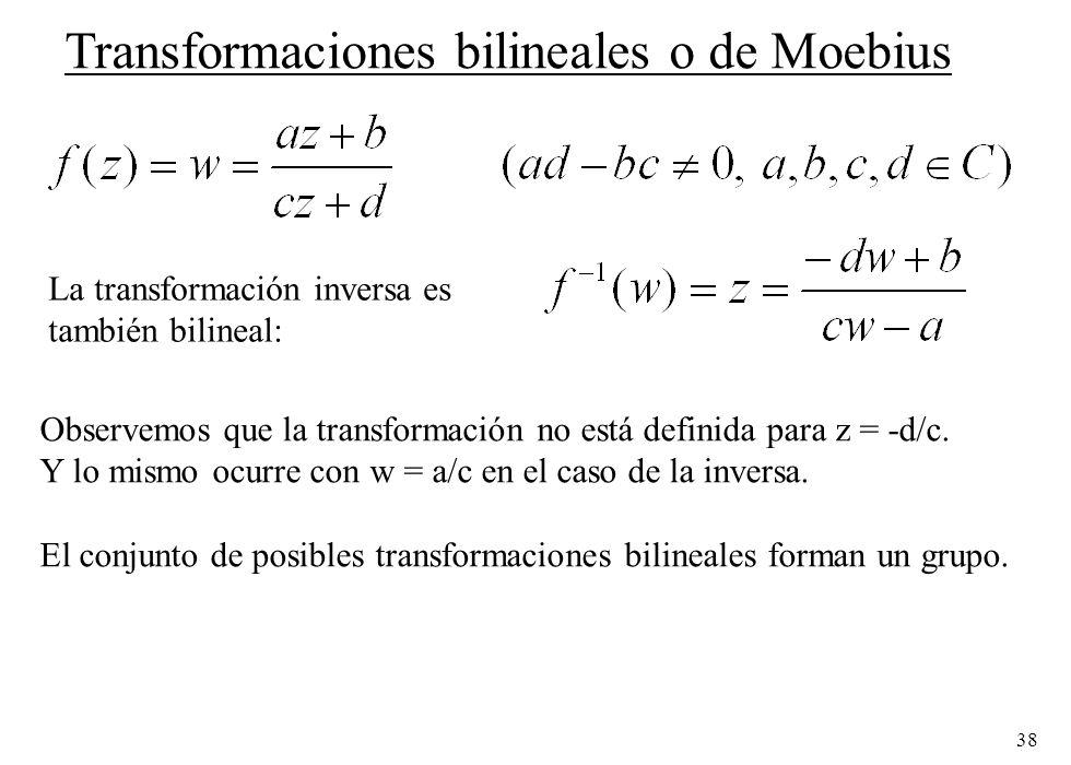 38 Transformaciones bilineales o de Moebius La transformación inversa es también bilineal: Observemos que la transformación no está definida para z =