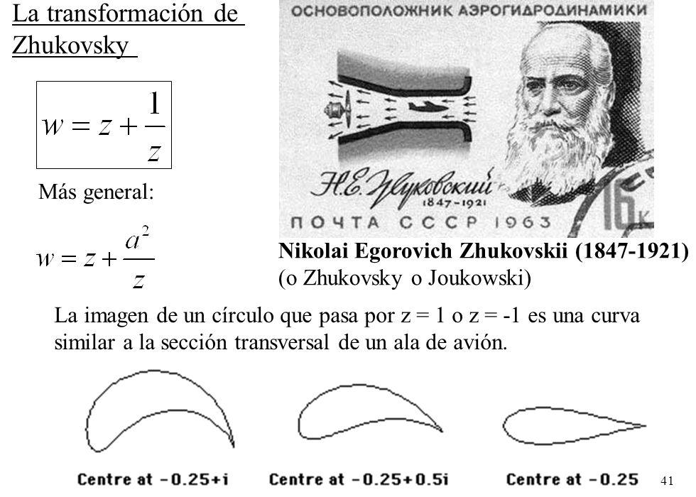 41 Nikolai Egorovich Zhukovskii (1847-1921) (o Zhukovsky o Joukowski) La transformación de Zhukovsky Más general: La imagen de un círculo que pasa por