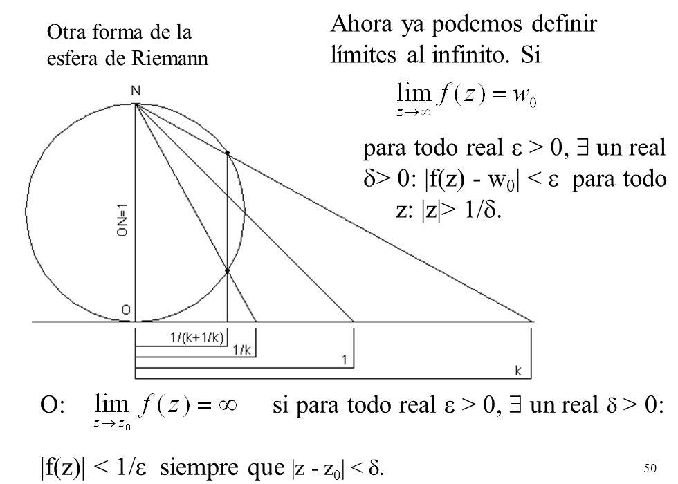 50 Otra forma de la esfera de Riemann Ahora ya podemos definir límites al infinito. Si para todo real > 0, un real > 0: |f(z) - w 0 | < para todo z: |