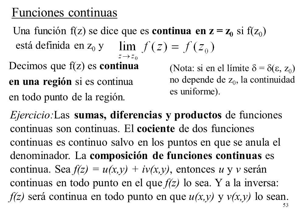 53 Funciones continuas Decimos que f(z) es continua en una región si es continua en todo punto de la región. Una función f(z) se dice que es continua
