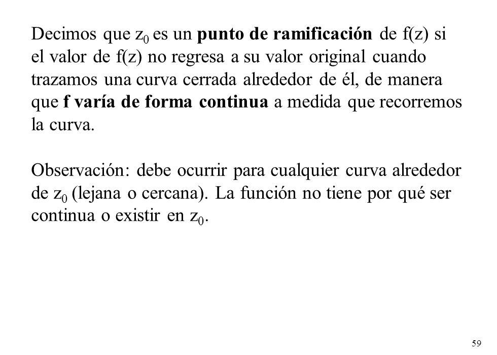 59 Decimos que z 0 es un punto de ramificación de f(z) si el valor de f(z) no regresa a su valor original cuando trazamos una curva cerrada alrededor