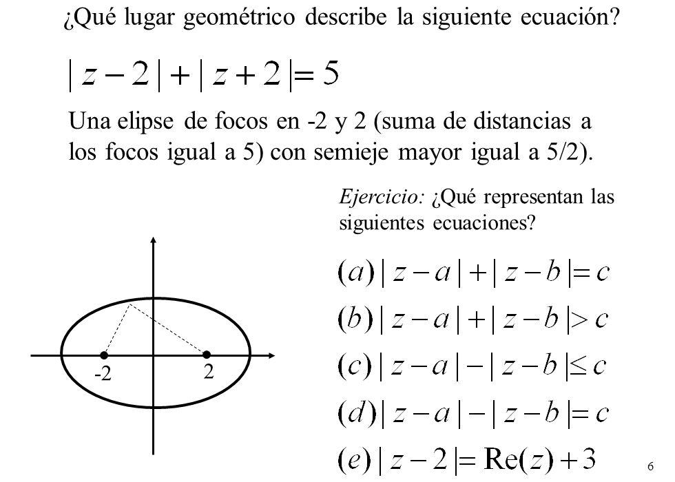6 ¿Qué lugar geométrico describe la siguiente ecuación? Una elipse de focos en -2 y 2 (suma de distancias a los focos igual a 5) con semieje mayor igu