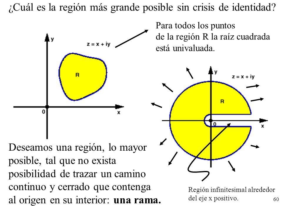 60 ¿Cuál es la región más grande posible sin crisis de identidad? Para todos los puntos de la región R la raíz cuadrada está univaluada. Deseamos una