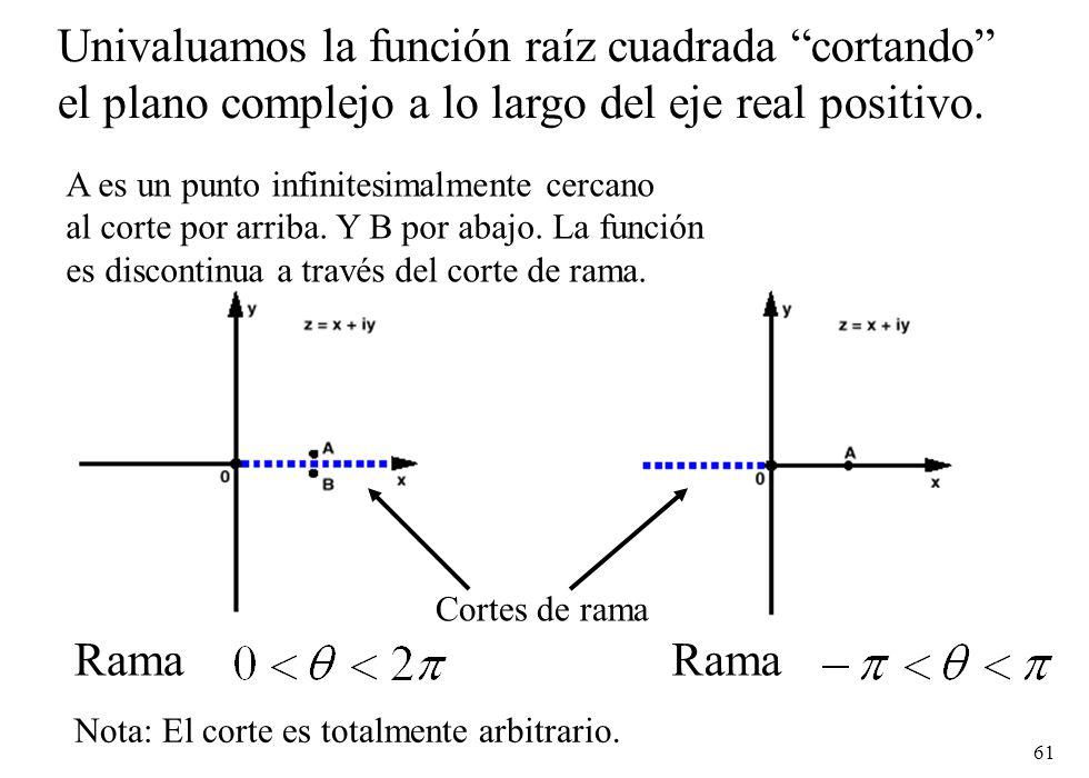 61 Univaluamos la función raíz cuadrada cortando el plano complejo a lo largo del eje real positivo. Rama Cortes de rama A es un punto infinitesimalme