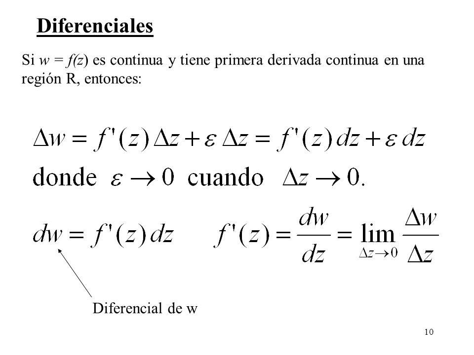 10 Diferenciales Si w = f(z) es continua y tiene primera derivada continua en una región R, entonces: Diferencial de w