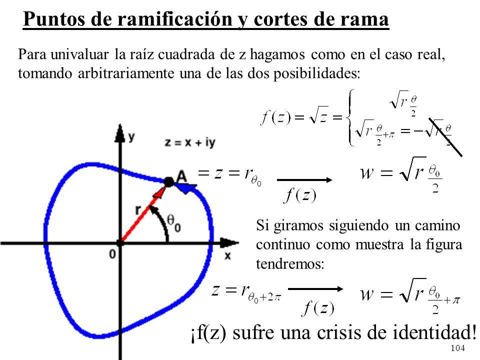 104 Puntos de ramificación y cortes de rama Para univaluar la raíz cuadrada de z hagamos como en el caso real, tomando arbitrariamente una de las dos