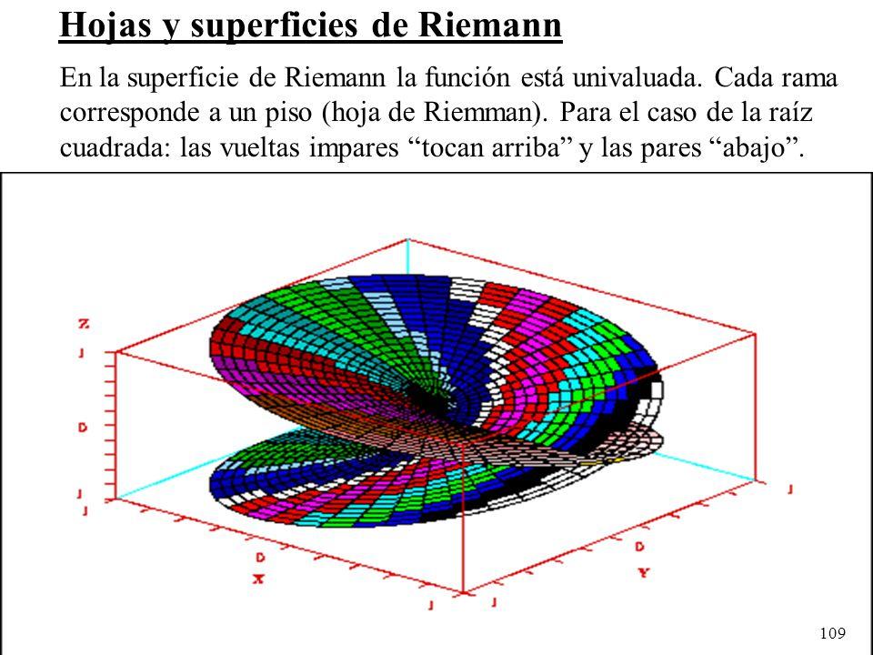 109 Hojas y superficies de Riemann En la superficie de Riemann la función está univaluada. Cada rama corresponde a un piso (hoja de Riemman). Para el