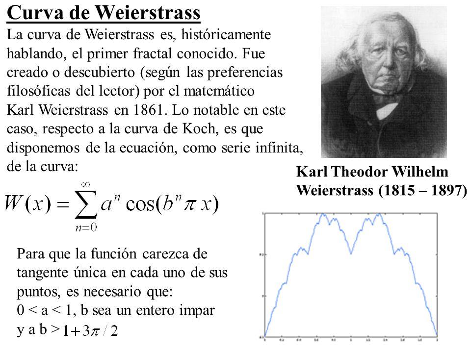 14 Curva de Weierstrass La curva de Weierstrass es, históricamente hablando, el primer fractal conocido. Fue creado o descubierto (según las preferenc