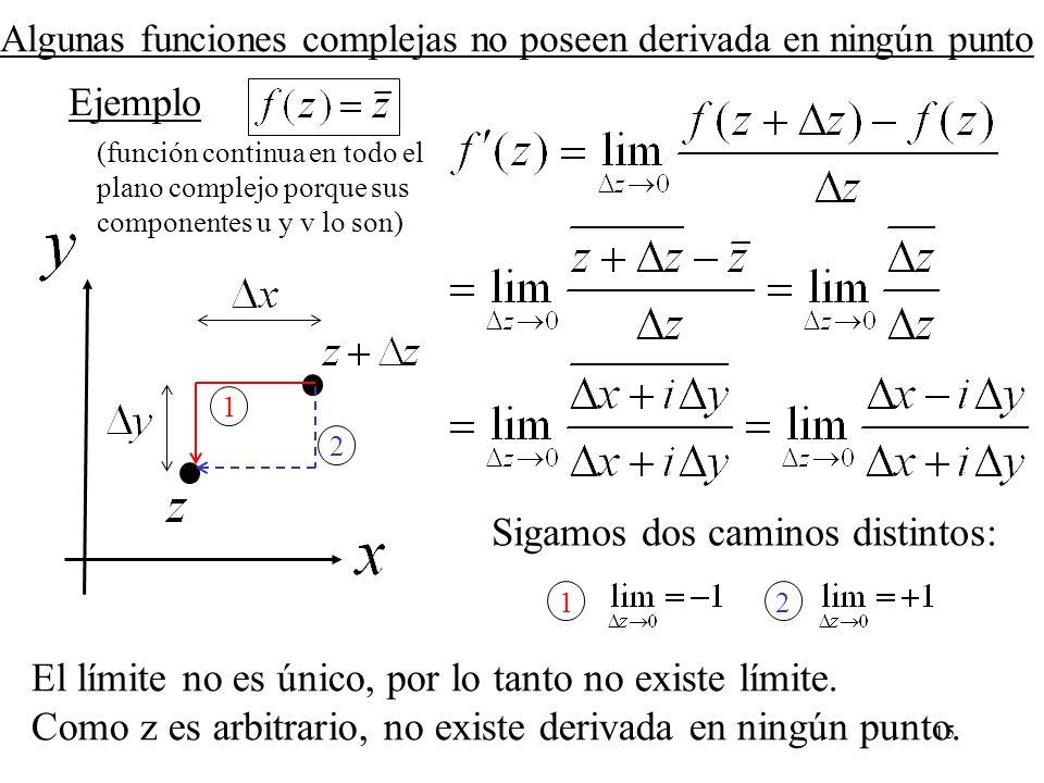 15 Algunas funciones complejas no poseen derivada en ningún punto Ejemplo Sigamos dos caminos distintos: 1 2 12 El límite no es único, por lo tanto no
