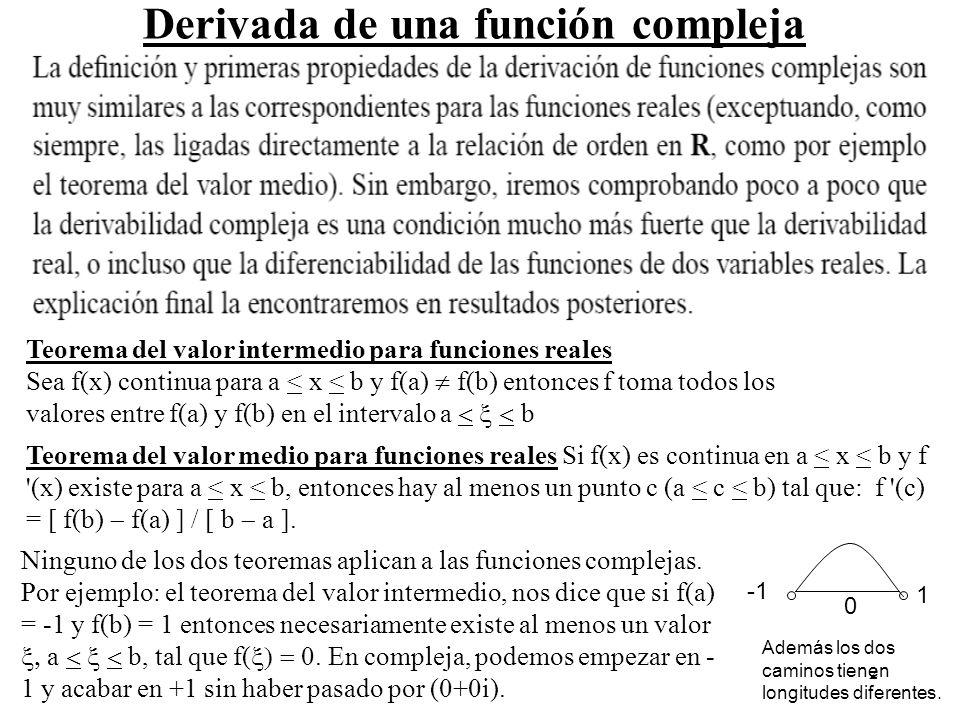 2 Derivada de una función compleja Teorema del valor medio para funciones reales Si f(x) es continua en a < x < b y f '(x) existe para a < x < b, ento