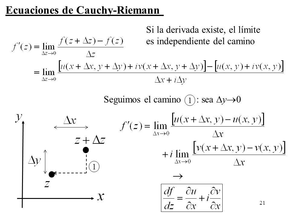 21 1 1 Seguimos el camino : sea y 0 Ecuaciones de Cauchy-Riemann Si la derivada existe, el límite es independiente del camino