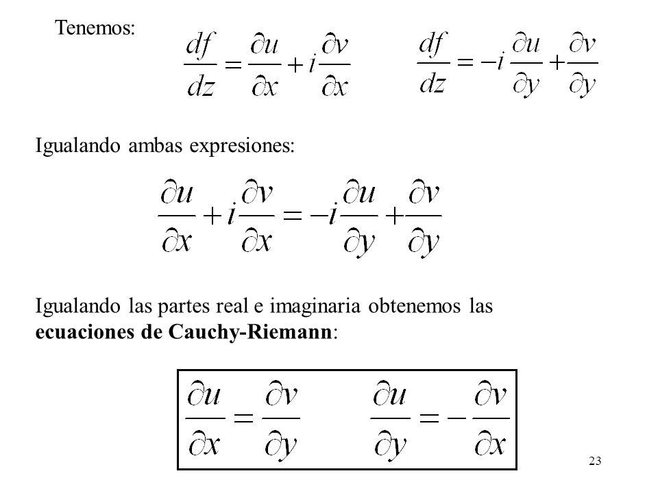 23 Igualando ambas expresiones: Igualando las partes real e imaginaria obtenemos las ecuaciones de Cauchy-Riemann: Tenemos: