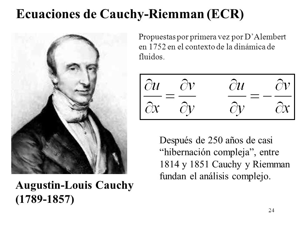 24 Después de 250 años de casi hibernación compleja, entre 1814 y 1851 Cauchy y Riemman fundan el análisis complejo. Augustin-Louis Cauchy (1789-1857)