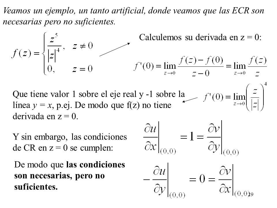 29 Veamos un ejemplo, un tanto artificial, donde veamos que las ECR son necesarias pero no suficientes. Que tiene valor 1 sobre el eje real y -1 sobre