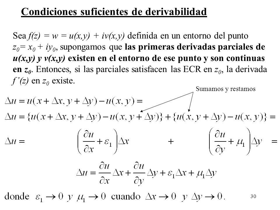 30 Condiciones suficientes de derivabilidad Sea f(z) = w = u(x,y) + iv(x,y) definida en un entorno del punto z 0 = x 0 + iy 0, supongamos que las prim