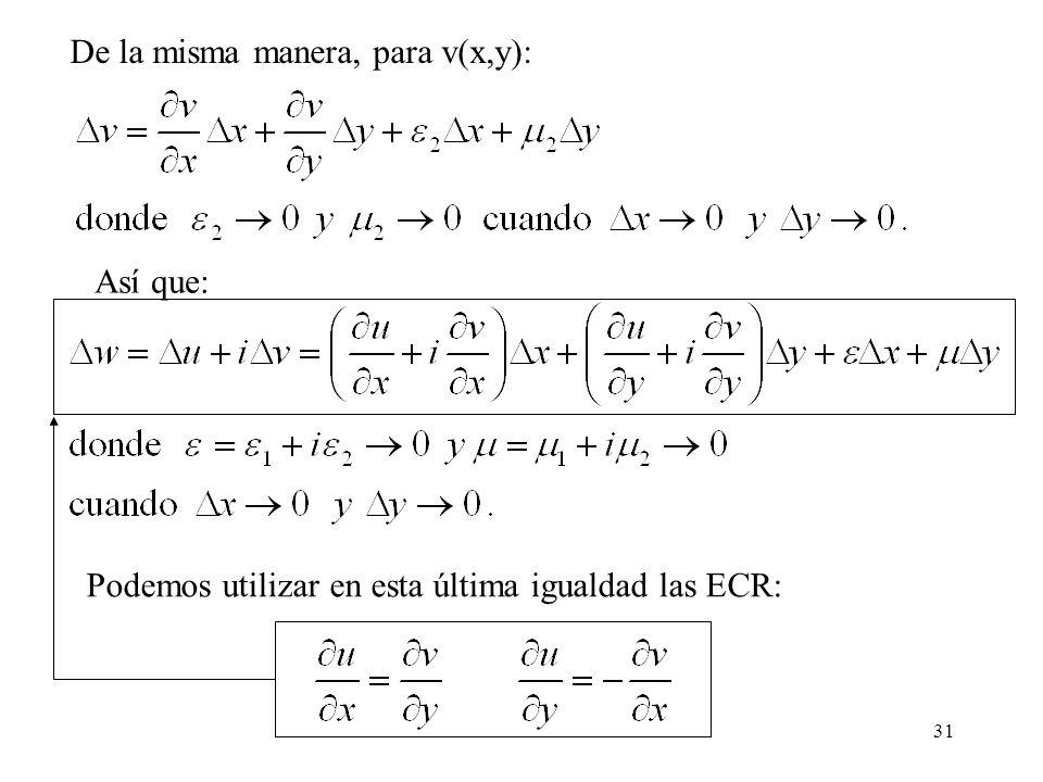 31 De la misma manera, para v(x,y): Así que: Podemos utilizar en esta última igualdad las ECR: