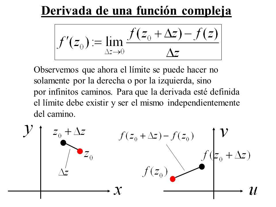 4 Derivada de una función compleja Observemos que ahora el límite se puede hacer no solamente por la derecha o por la izquierda, sino por infinitos ca