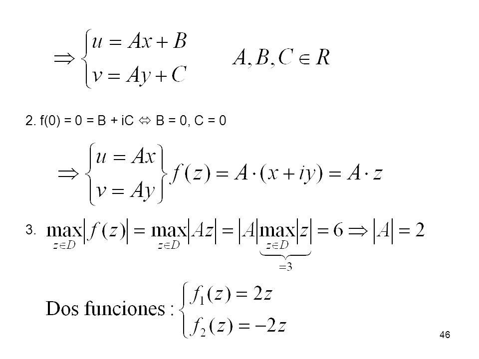 46 2. f(0) = 0 = B + iC B = 0, C = 0 3.