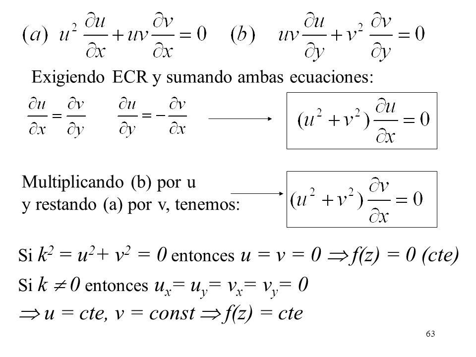 63 Exigiendo ECR y sumando ambas ecuaciones: Multiplicando (b) por u y restando (a) por v, tenemos: Si k 2 = u 2 + v 2 = 0 entonces u = v = 0 f(z) = 0