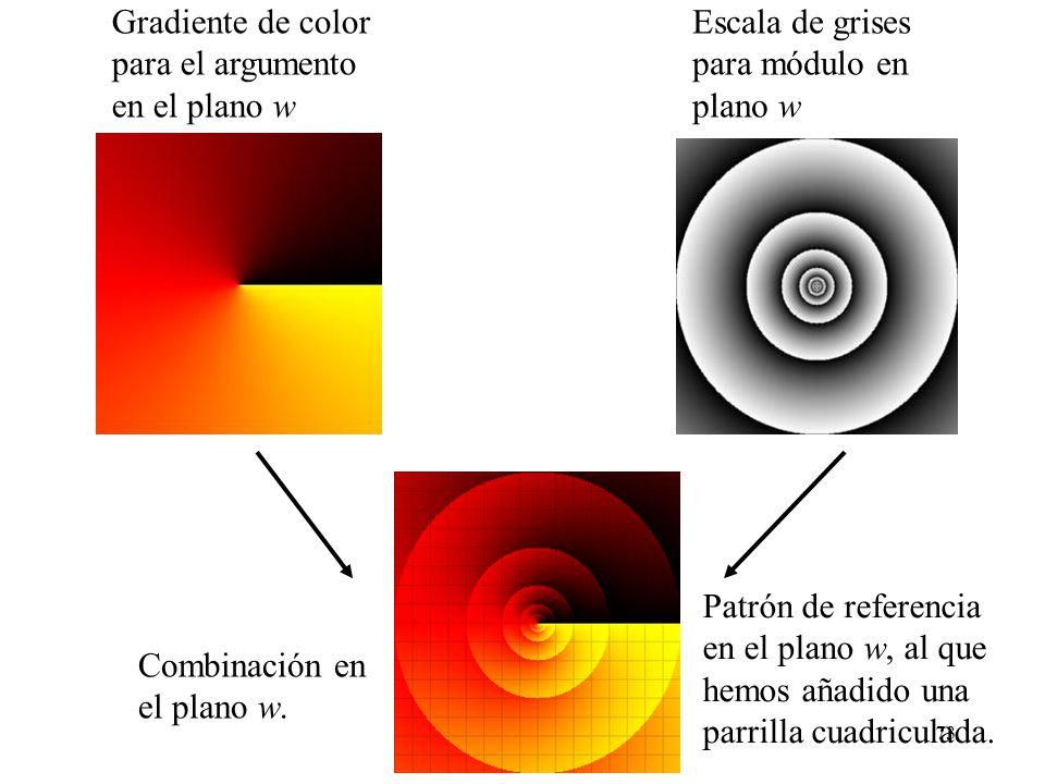 73 Gradiente de color para el argumento en el plano w Escala de grises para módulo en plano w Combinación en el plano w. Patrón de referencia en el pl