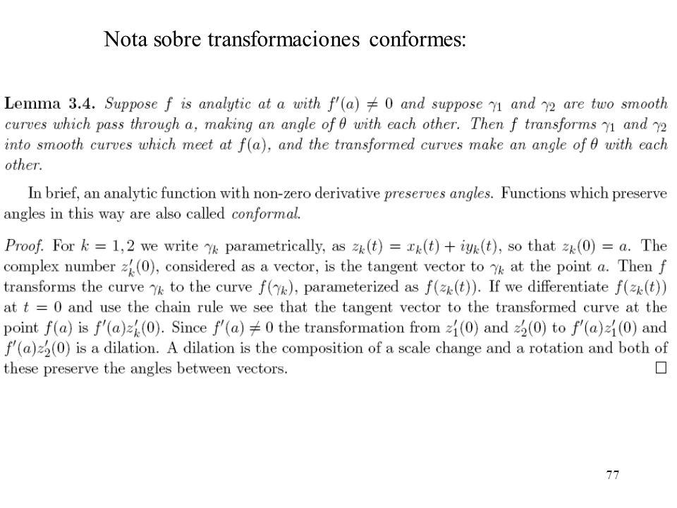 77 Nota sobre transformaciones conformes: