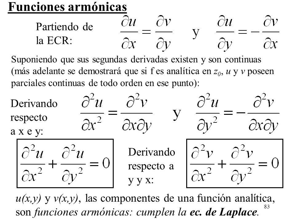 83 Funciones armónicas u(x,y) y v(x,y), las componentes de una función analítica, son funciones armónicas: cumplen la ec. de Laplace. Partiendo de la