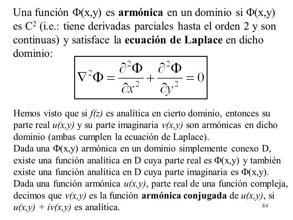84 Una función (x,y) es armónica en un dominio si (x,y) es C 2 (i.e.: tiene derivadas parciales hasta el orden 2 y son continuas) y satisface la ecuac