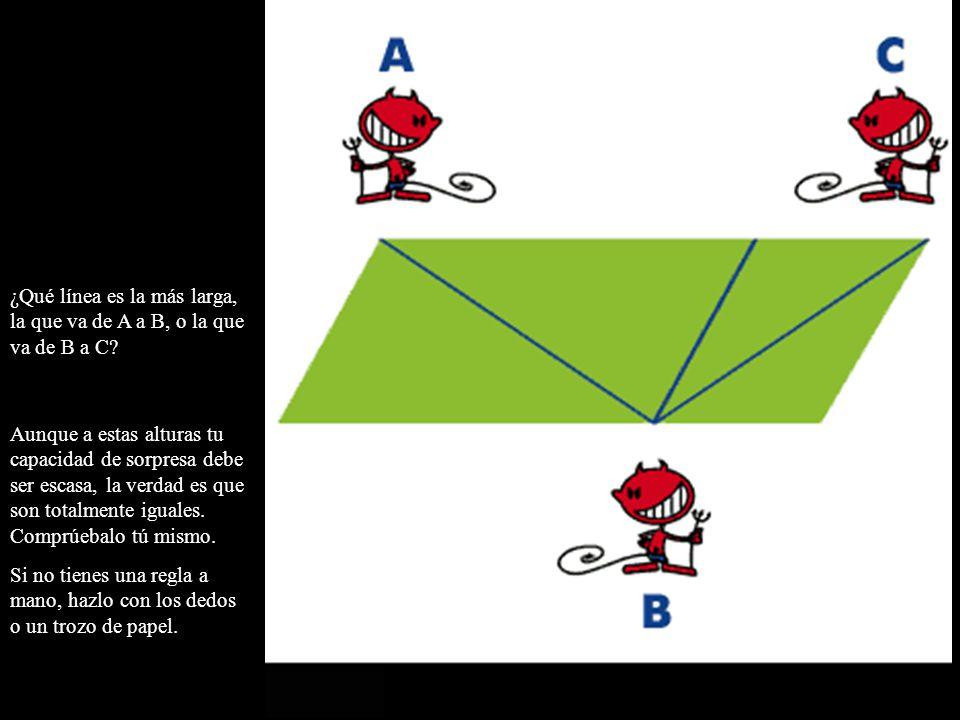 ¿Qué línea es la más larga, la que va de A a B, o la que va de B a C? Aunque a estas alturas tu capacidad de sorpresa debe ser escasa, la verdad es qu